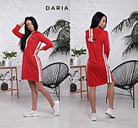 Платье женское, стильное, красное, спортивное с капюшоном, 524-079, фото 1