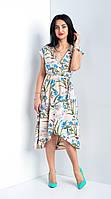 Летнее женское  платье с цветами. Размеры 44-52