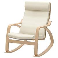 IKEA POANG Кресло-качалка, березовый шпон, крепкий белый голос  (698.610.11), фото 1