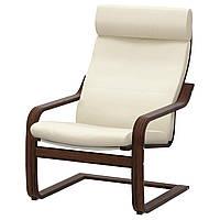 IKEA POANG Кресло, коричневый, голос надежный с белым  (898.607.70), фото 1