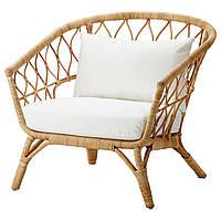 IKEA STOCKHOLM2017 Кресло с подушкой, ротанг, Röstånga белый  (992.071.29), фото 1