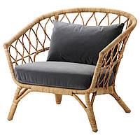 IKEA STOCKHOLM2017 Кресло с подушкой, ротанг, Сандбакка темно-серый  (592.071.26), фото 1