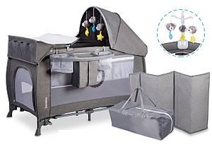 Практичная манеж-кровать для ребенка Lionelo Lo-Simon с капюшоном