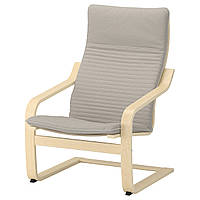 IKEA POANG Кресло, березовый шпон, Книса светло-бежевый  (392.407.87), фото 1