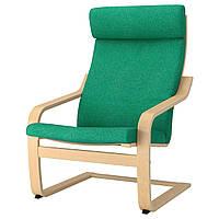 IKEA POANG Кресло, березовый шпон, лизированы жаскравозиелони  (892.416.28), фото 1
