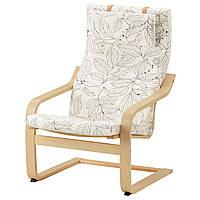 IKEA POANG Кресло, березовый шпон, Висланде черный/белый  (491.812.21), фото 1