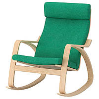 IKEA POANG Кресло-качалка, березовый шпон, лизированы жаскравозиелони  (392.444.22), фото 1