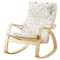 IKEA POANG Кресло-качалка, березовый шпон, Висланде черный/белый  (491.812.64), фото 1