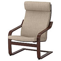IKEA POANG Кресло, коричневый, Hillared бежевый  (791.977.58), фото 1
