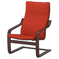 IKEA POANG Кресло, коричневый, Книса красный/оранжевый оранжевый  (692.408.56), фото 1