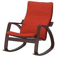 IKEA POANG Кресло-качалка, коричневый, Книса красный/оранжевый оранжевый  (792.415.58), фото 1