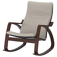 IKEA POANG Кресло-качалка, коричневый, Книса светло-бежевый  (392.415.55), фото 1