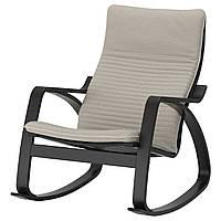 IKEA POANG Кресло-качалка, черно-коричневый, Книса светло-бежевый  (192.415.42), фото 1