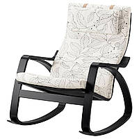 IKEA POANG Кресло-качалка, черно-коричневый, Висланде черный/белый  (191.812.65), фото 1