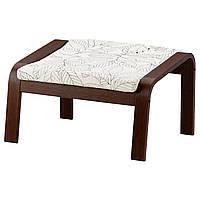 IKEA POANG Подставка для ног, коричневый, Висланде черный/белый  (591.812.49), фото 1