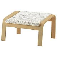 IKEA POANG Подставка для ног, березовый шпон, Висланде черный/белый  (291.812.41), фото 1