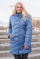 Демисезонная красивая удлиненная куртка большие размеры 50-62 с капюшоном