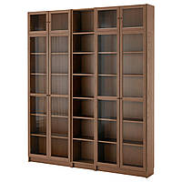 IKEA BILLY/OXBERG Книжный шкаф, коричневый шпон ясень  (491.558.54), фото 1