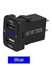 Автомобильное зарядное гнездо врезная розетка с вольтметром АЗУ 2 USB (12-24В) 5В/4.2A Toyota синяя  подсветка