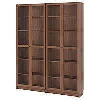 IKEA BILLY/OXBERG Книжный шкаф, коричневый, ясень шпон стекло  (291.557.51), фото 1
