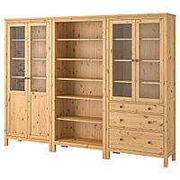 IKEA HEMNES Книжный шкаф с дверями, светло-коричневый, стекло  (192.357.63), фото 1
