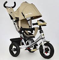 Детский трехколесный велосипед Best Trike 7700 B-5780 поворотное сиденье, надувные колеса, фара, бежевый лён