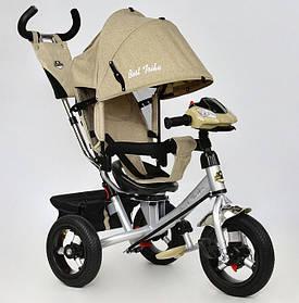 Дитячий триколісний велосипед Best Trike 7700 B-5780 поворотне сидіння, надувні колеса, фара, бежевий льон