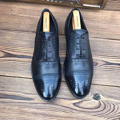 Мужские кожаные туфли броги чоловічі туфлі