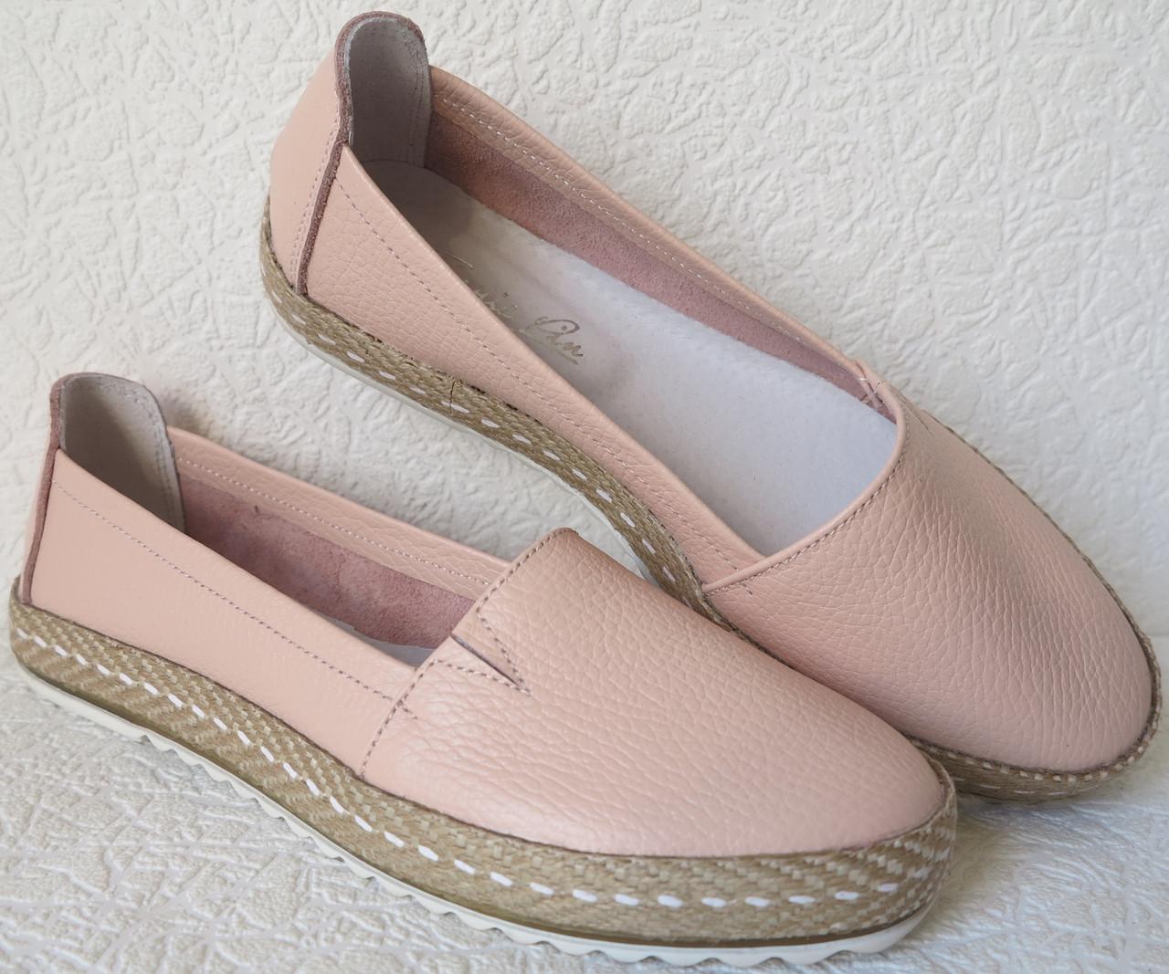 124061400 Кожаные слипоны для девочек и девушек мокасины туфли универсальные цвет  пудра
