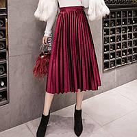 Женская длинная плиссированная бархатная юбка бордовая (марсала), фото 1