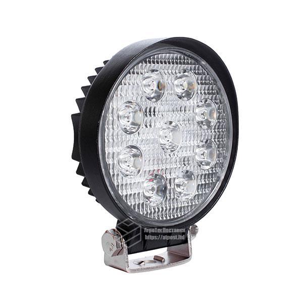 LED фара круглая 27W, 9 ламп, широкий луч 10/30V 6000K