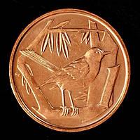 Монета Каймановых островов 1 цент 2008 г. Дрозд