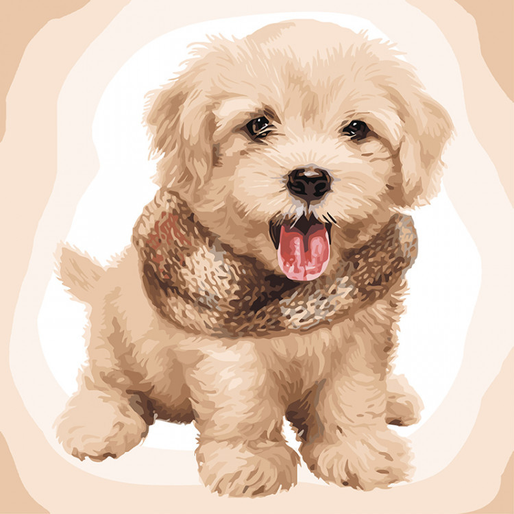 Картина по номерам на холсте Пушистый щенок, KHO4116