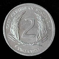 Монета Восточно - Карибских штатов 2 цента 2008 г.
