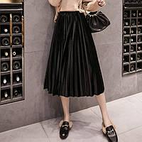Женская длинная плиссированная бархатная юбка черная, фото 1