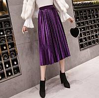 Женская длинная плиссированная бархатная юбка фиолетовая, фото 1
