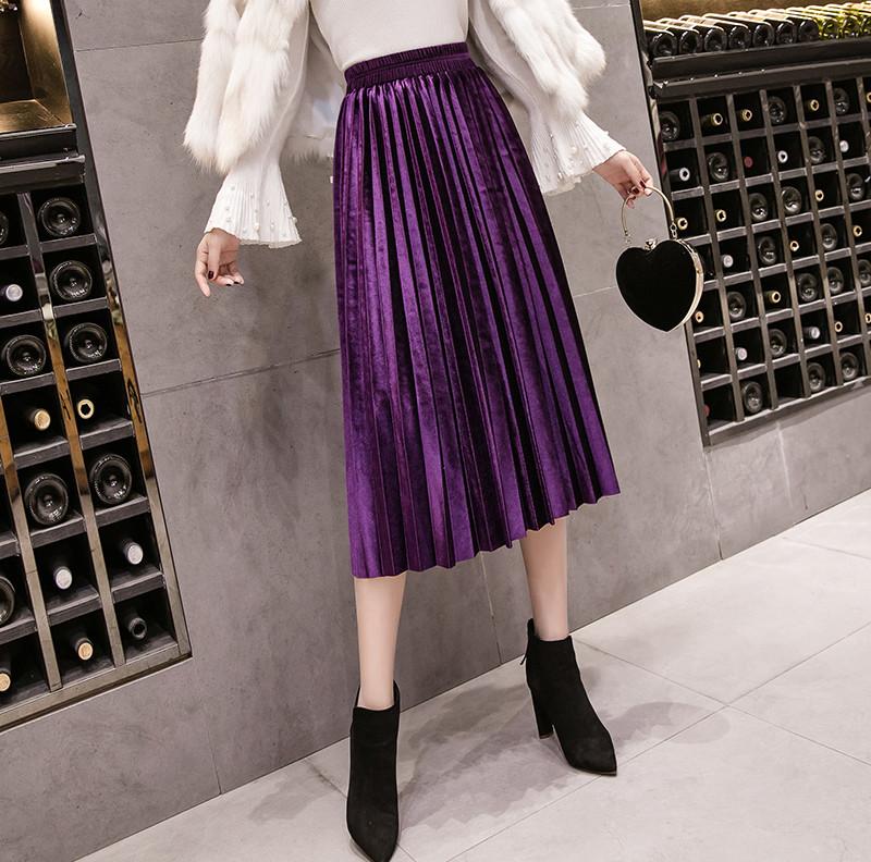 Женская длинная плиссированная бархатная юбка фиолетовая