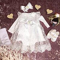 Платье для крещения девочки с кружевом, колготками, бодиком, повязкой
