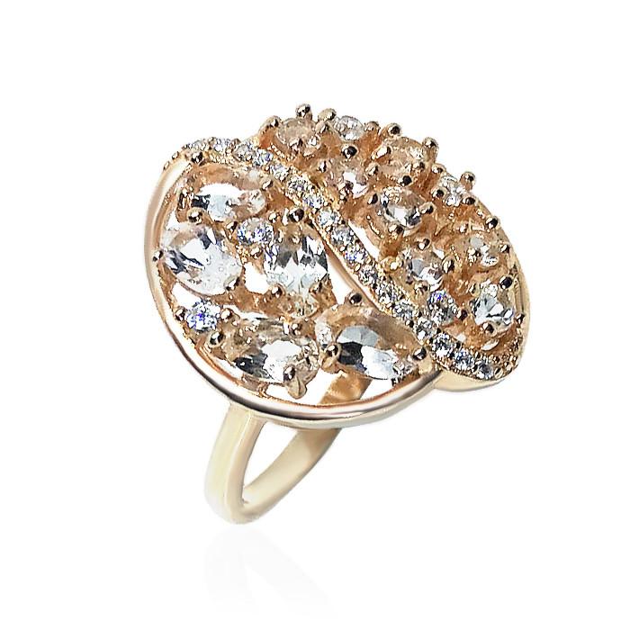 Кольцо серебряное с натуральными морганитами размер 17.5