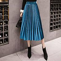 Женская длинная плиссированная бархатная юбка голубая, фото 1