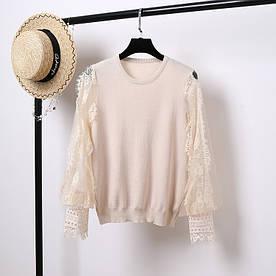 Нарядный пуловер с объемными рукавами 42-44 ( в расцветках)