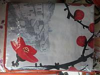 Постельное полуторное белье Gold с красными цветами