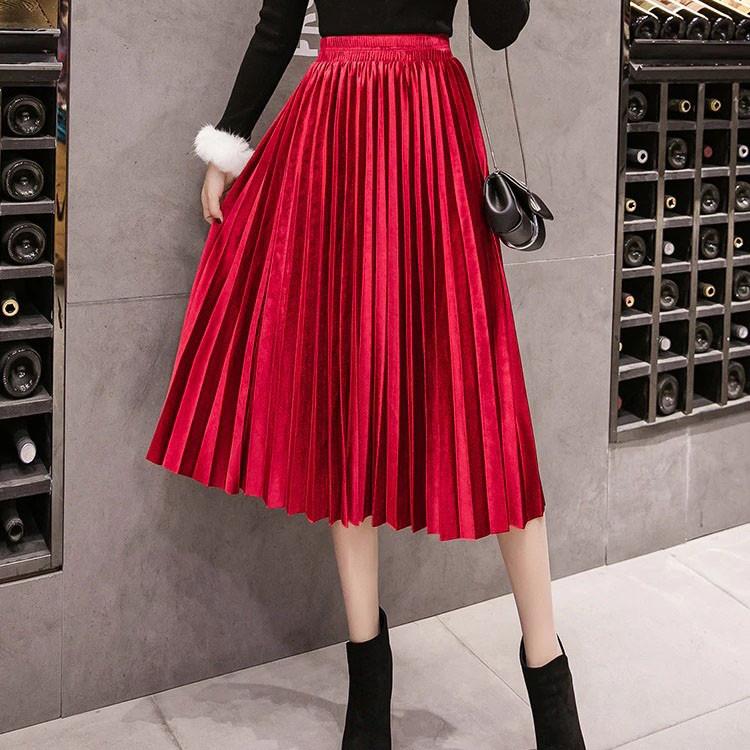 Женская длинная плиссированная бархатная юбка красная