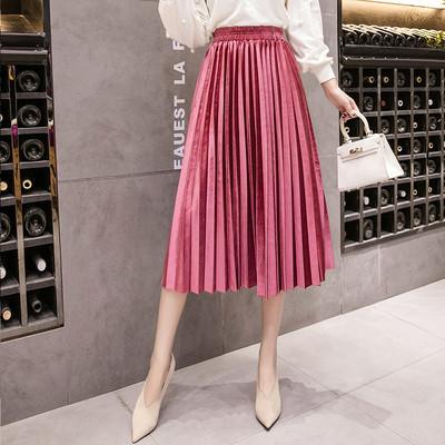 Женская длинная плиссированная бархатная юбка розовая