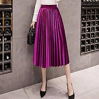 Женская длинная плиссированная бархатная юбка малиновая, фото 1