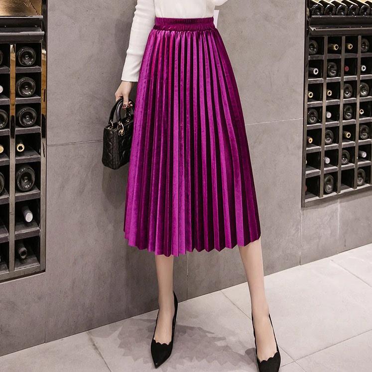Женская длинная плиссированная бархатная юбка малиновая