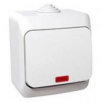 Выключатель 1 кл. с подсветкой Cedar Plus, Schneider Electric (белый и серый)