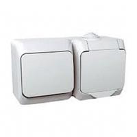 Блок выключатель+розетка с заземлением Cedar Plus, Schneider Electric (белый и серый)