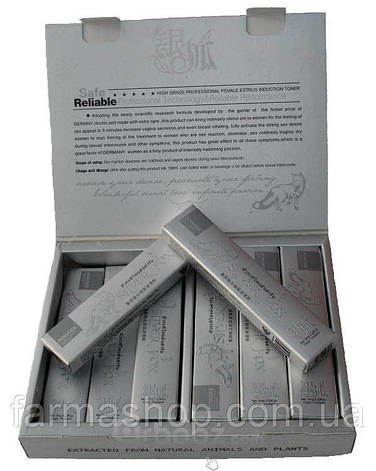 Серебряная лиса - Сильвер Фокс (лат Silver Fox) – афродизиак  для женщин в каплях 6 пакетиков, фото 2