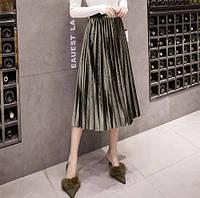 Женская длинная плиссированная бархатная юбка зеленая, фото 1